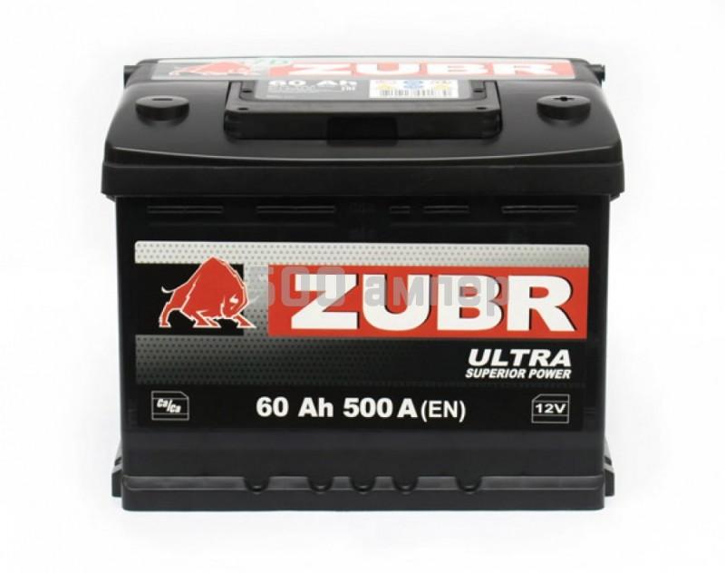 Аккумулятор ZUBR ULTRA 60 Ah 500 A (EN) (4810728001830) (-+) 25900