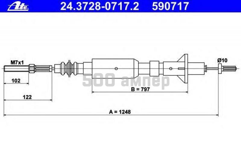 Трос, управление сцеплением ATE (24.3728-0717.2)